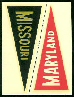 Maryland - Missouri 1960 Fleer College Pennant Decals football card