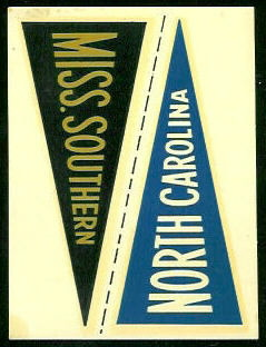 Mississippi State - North Carolina 1960 Fleer College Pennant Decals football card