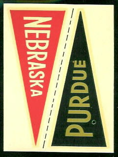 Nebraska - Purdue 1960 Fleer College Pennant Decals football card
