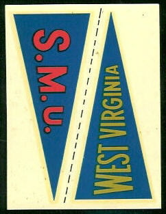 SMU - West Virginia 1960 Fleer College Pennant Decals football card