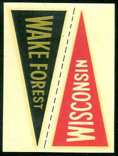 Wake Forest - Wisconsin 1960 Fleer College Pennant Decals football card