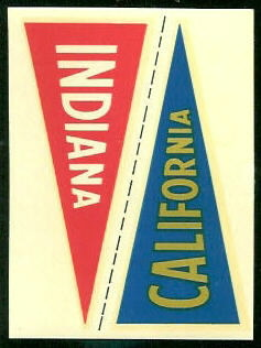 California - Indiana 1960 Fleer College Pennant Decals football card
