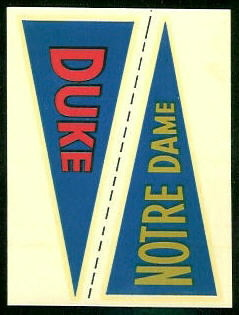 Duke - Notre Dame 1960 Fleer College Pennant Decals football card