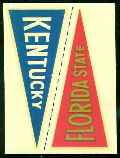Florida State - Kentucky 1960 Fleer College Pennant Decals football card
