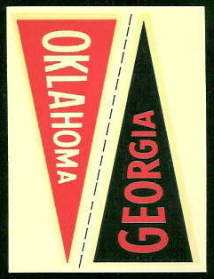 Georgia - Oklahoma 1960 Fleer College Pennant Decals football card