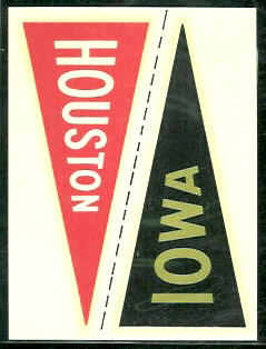 Houston - Iowa 1960 Fleer College Pennant Decals football card