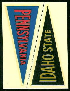 Idaho State - Pennsylvania 1960 Fleer College Pennant Decals football card