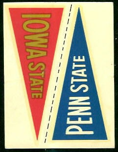 Iowa State - Penn State 1960 Fleer College Pennant Decals football card