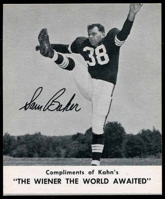 Sam Baker 1960 Kahns football card