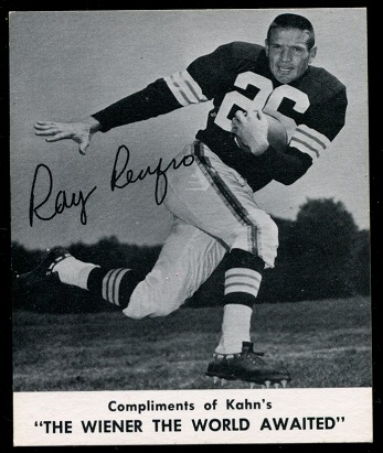 Ray Renfro 1960 Kahns football card