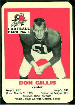 Don Gillis 1960 Mayrose Cardinals football card