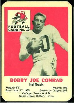 Bobby Joe Conrad 1960 Mayrose Cardinals football card