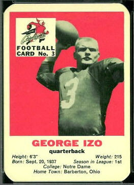 George Izo 1960 Mayrose Cardinals football card