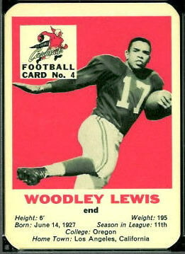 Woodley Lewis 1960 Mayrose Cardinals football card