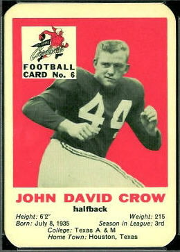 John David Crow 1960 Mayrose Cardinals football card