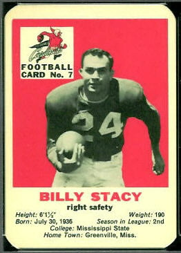 Bill Stacy 1960 Mayrose Cardinals football card