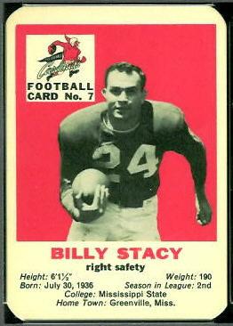Bill Stacy 1960 Mayrose Cardinals football card