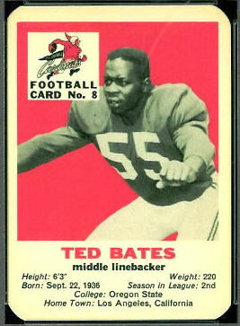 Ted Bates 1960 Mayrose Cardinals football card