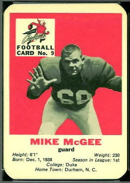 Mike McGee 1960 Mayrose Cardinals football card