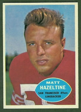 Matt Hazeltine 1960 Topps football card