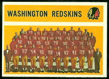 Washington Redskins Team 1960 Topps football card