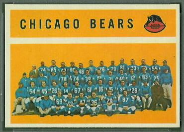 Chicago Bears Team 1960 Topps football card