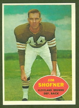 Jim Shofner 1960 Topps football card