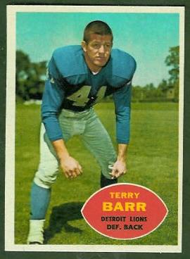 Terry Barr 1960 Topps football card
