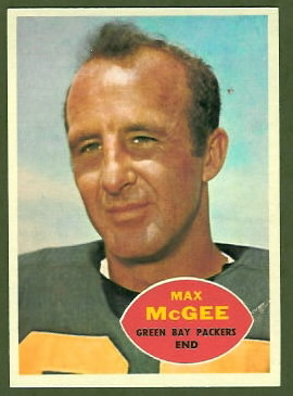 Max McGee 1960 Topps football card