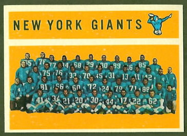 New York Giants Team 1960 Topps football card