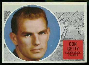Don Getty 1960 Topps CFL football card