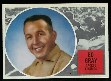 Ed Gray 1960 Topps CFL football card