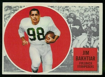 Jim Bakhtiar 1960 Topps CFL football card