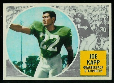Joe Kapp 1960 Topps CFL football card