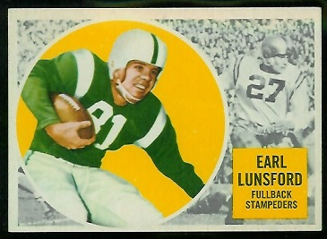 Earl Lunsford 1960 Topps CFL football card