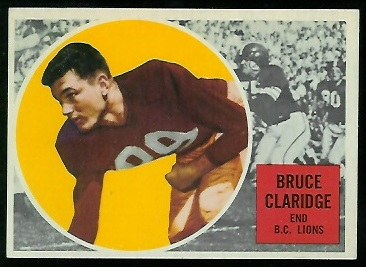 Bruce Claridge 1960 Topps CFL football card