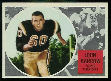 John Barrow 1960 Topps CFL football card