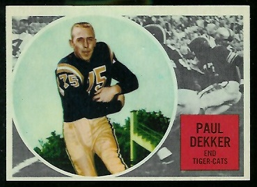 Paul Dekker 1960 Topps CFL football card