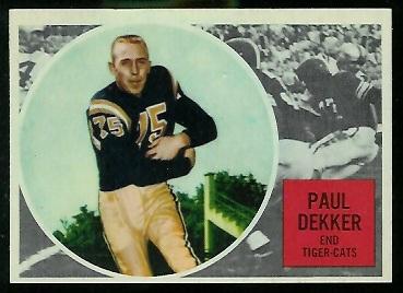 Paul Dekker 1960 Topps CFL football card