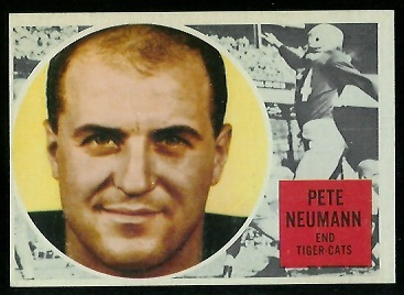 Pete Neumann 1960 Topps CFL football card