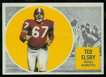 Ted Elsby 1960 Topps CFL football card