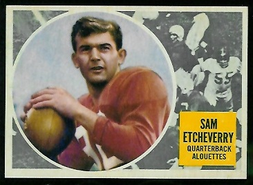 Sam Etcheverry 1960 Topps CFL football card