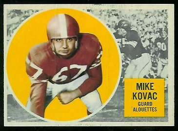 Mike Kovac 1960 Topps CFL football card