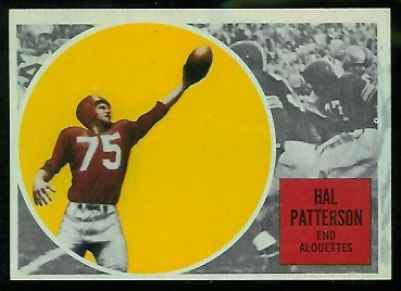 Hal Patterson 1960 Topps CFL football card