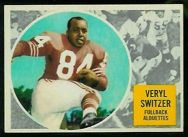 Veryl Switzer 1960 Topps CFL football card