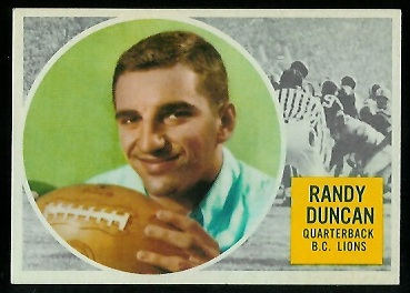 Randy Duncan 1960 Topps CFL football card