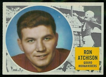 Ron Atchison 1960 Topps CFL football card