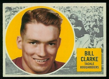 Bill Clarke 1960 Topps CFL football card