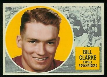 Bill Clarke 1960 Topps CFL football card