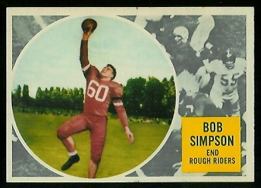 Bob Simpson 1960 Topps CFL football card